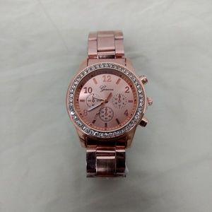 Geneva Watch Rose Gold Chronograph Faux Rhinestone